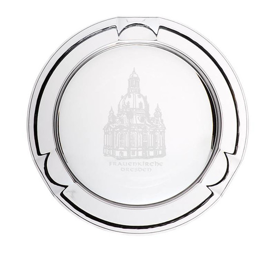 Crystal Ashtray Frauenkirche 12cm, transparent, lead crystal