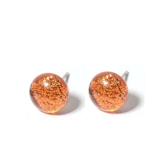 Ohrstecker mit Glasperle Orange Stone Fusing