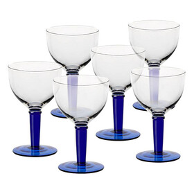 Ice Cream Glass Lombardia Set of 6 18.5 cm, (7.29 in), blue, glass